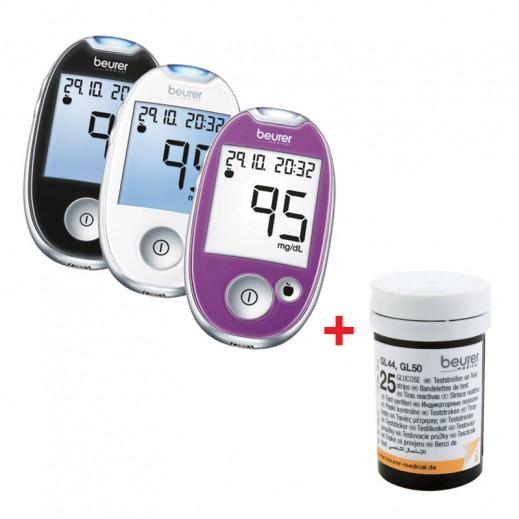 بيورير – جهاز GL44 لقياس السكر في الدم + 50 شريط إختبار