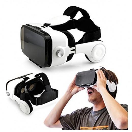 نظارات VR BOX لعالم الواقع الافتراضي الثلاثي الابعاد مع سماعات رأس مدمجة للهواتف الذكية