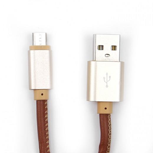 إن إتش إي – كيبل ميكرو USB جلدي لشحن الهواتف الذكية بقوة 2.4 أمبير - بني
