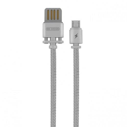 دبليو كي ديزاين – كيبل Micro USB معدني طول 1 متر – فضي