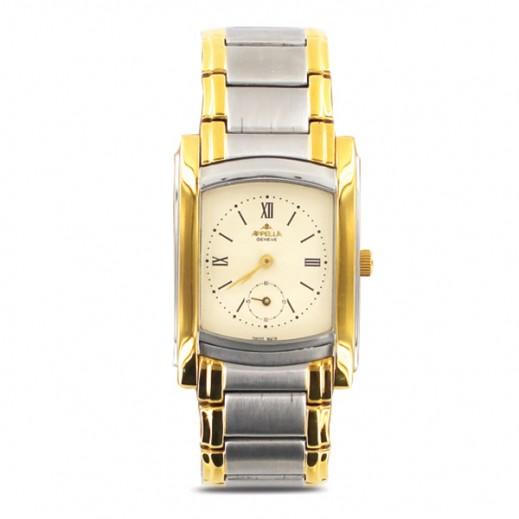 أبيلا – ساعة يد سويسرية للرجال بحزام ستانليس ستيل وواجهة عاجية اللون (AP-4097.02.0.0.02)