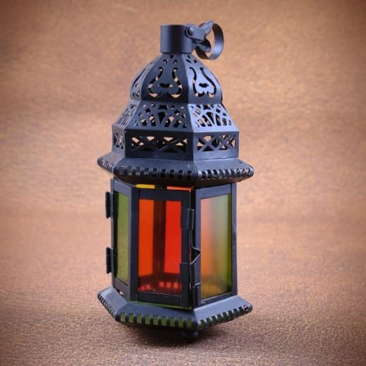 فانوس رمضان بزجاج ملون حجم صغير - أسود