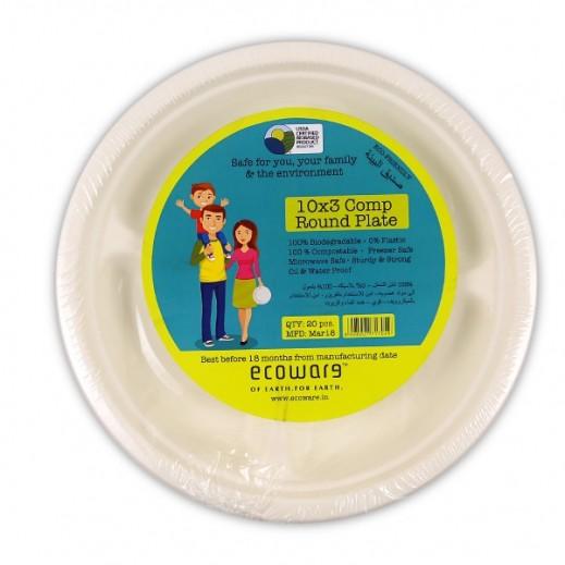 إيكووير - أطباق دائرية قابلة للتحلل 10 بوصة - 20 حبة