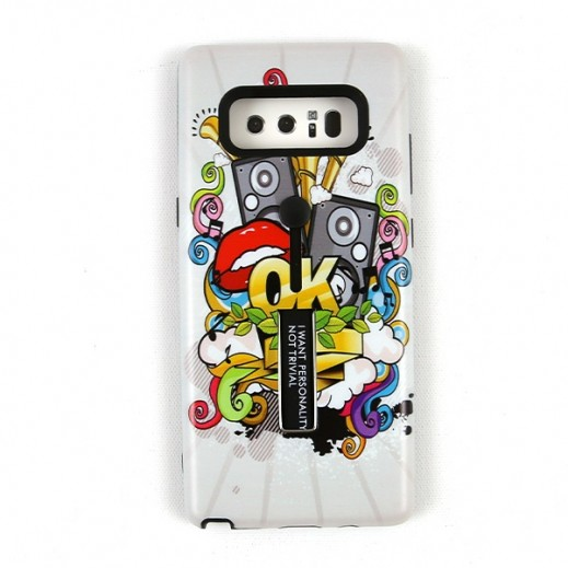 Boter Case & Holder for Samsung Note 8 – White Graffiti