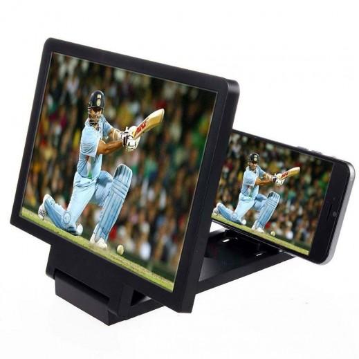 شاشة مكبرة 3D للجوال مع سماعات أسود