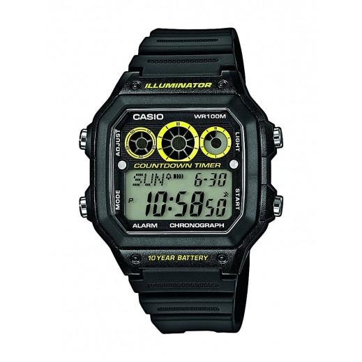 كاسيو - ساعة يد شبابية رقمية بسوار راتنج أسود - يتم التوصيل بواسطة Veerup General Trading