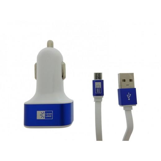 شاحن سيارة CASE LOGIC متعدد التوافق 3 منافذ USB قدرة عالية  ازرق