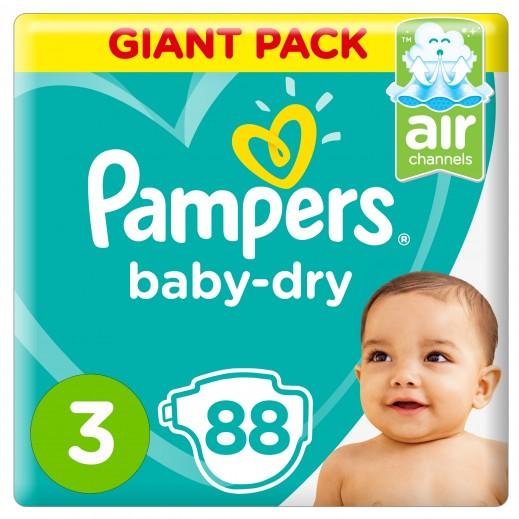 بامبرز - حفاضات Baby-Dry مقاس 3 وسط، 6 - 10 كجم 88 حفاضة