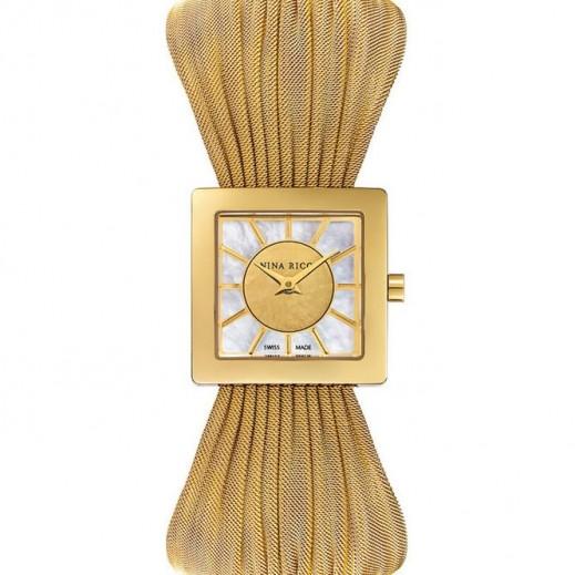 نينا ريشي - ساعة ستانلس ستيل باللون الذهبي للنساء - يتم التوصيل بواسطة My Fair Lady
