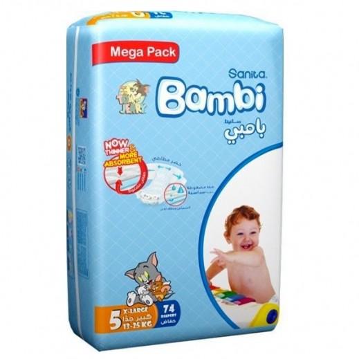 سانيتا – بامبي حفاضات أطفال مقاس (5) حجم كبير (13-25 كجم) – 74 حفاضة