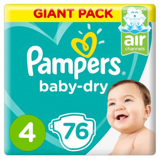 بامبرز - حفاضات Baby-Dry مقاس 4 ماكسي، 9 - 14 كجم 76 حفاضة