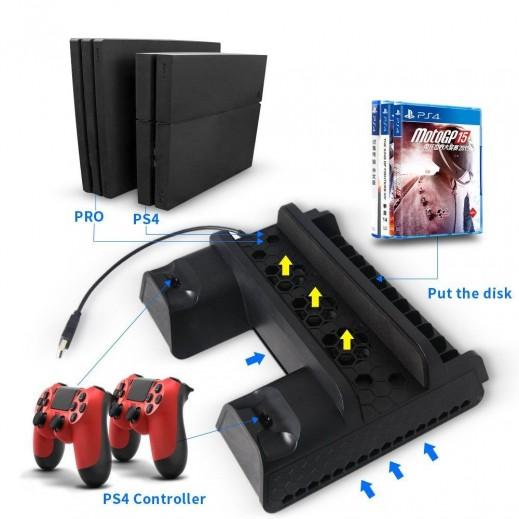 دوبي منصة تبريد متعددة الوظائف سلسلة P4 لاجهزة PS4 PRO/ PS4 SLIM/ PS4