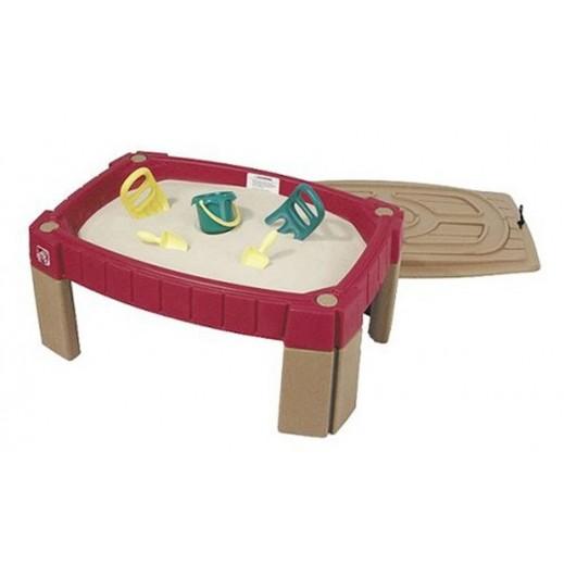 ستيب 2 – طاولة الرمال الطبيعية للأطفال – أحمر داكن - يتم التوصيل بواسطة Shahaleel