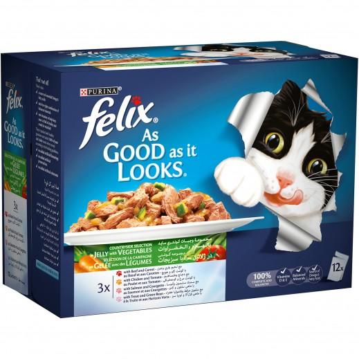 بورينا فليكس - طعام القطط وجبة خضروات تشكيلة متنوعة في جيلي 100 جرام