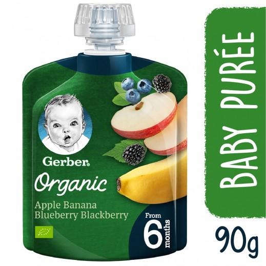 جربر - طعام للأطفال بالتفاح، الموز، التوت البري والأسود العضوي 90 جم (من عمر 6 أشهر وأكثر)