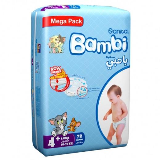 سانيتا – بامبي حفاضات أطفال مقاس (+4) حجم كبير (10-18 كجم) – 78 حفاضة