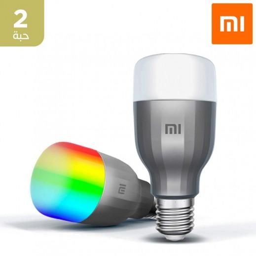 شاومي - لمبة إضاءة لاسلكية ذكية LED - أبيض وألوان 2 حبه