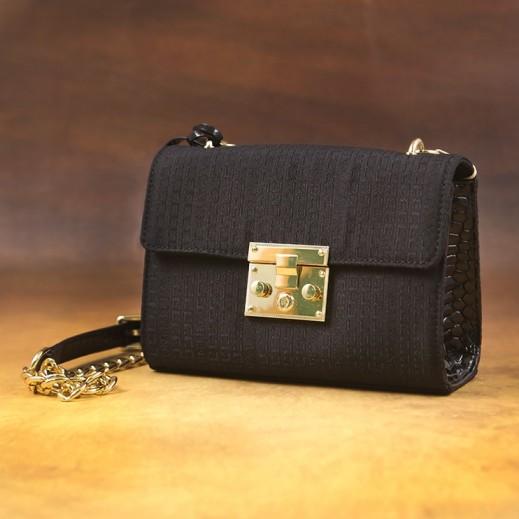 ماركو فالنتينو – حقيبة يد قماش مع جلد سنيك للسيدات - أسود 6002
