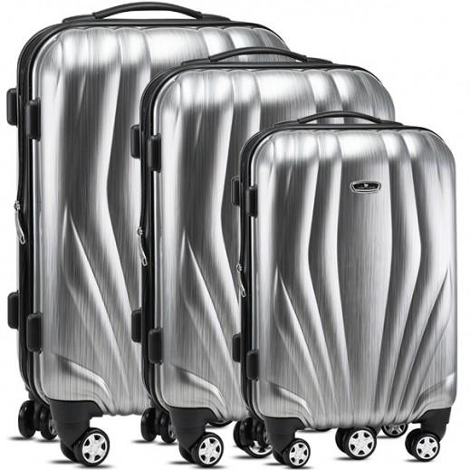 أميريكان فلاير – طقم حقائب سفر ترولي 3 حبة – رمادي