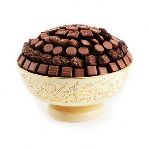 طبق شوكلاتة فاخرة دائري مع حامل  - يتم التوصيل بواسطة Chocolates Rohr Geneve
