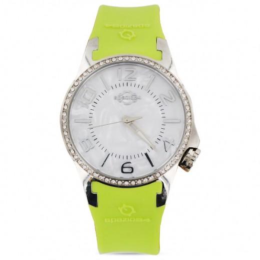سباتسيو 24 – ساعة للسيدات بحزام جلدي أخضر وهيكل فضى مُزين بالكريستال (L4D052/013G)