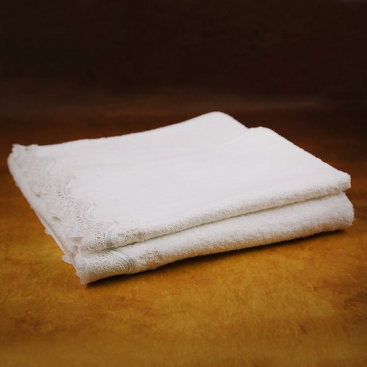 كانون - مناشف حمام مطرزة أبيض 2 قطعة - يتم التوصيل بواسطة SFC