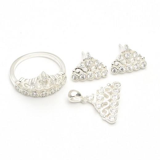 دبليو.إم - طقم مجوهرات مطلي بالفضة السويسرية الخالصة ومرصعة بالزركون والأحجار - مقاس 7 (موديل N6-22)