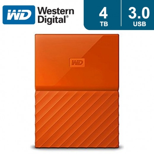 """ويسترن ديجتال – هارد ديسك """"My Passport"""" سعة 4 تيرابايت USB 3.0 – برتقالي - يتم التوصيل بواسطة شركة توصيل خلال يوم واحد"""