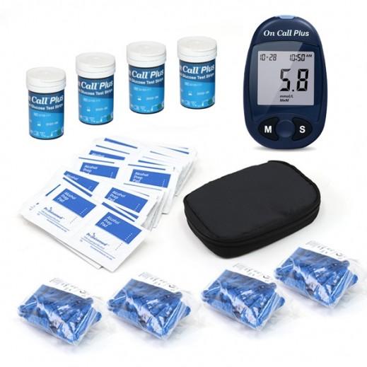 أون كول بلس – جهازجلوكوبلس لفحص السكر في الدم + 100 شريط قياس + 100 إبرة + ضمادات كحول