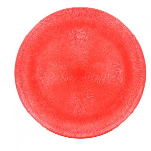 """كولسان – طبق ميلامين كبير بسطح قطرات المطر """"مينا"""" – دائري أحمر"""