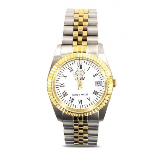 إم بي دبليو – ساعة سويسرية للرجال بحزام ذهبي من الستانليس ستيل وأرقام رومانية