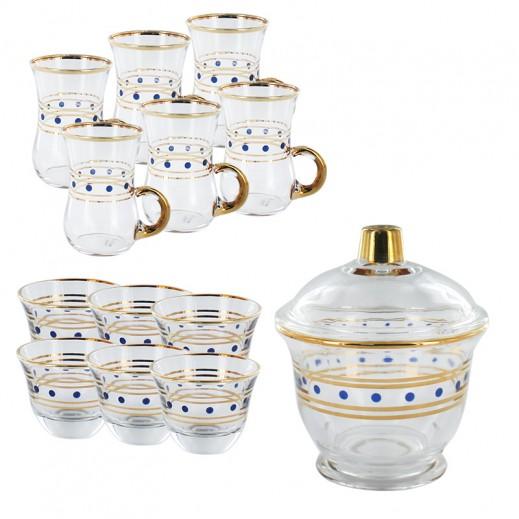 ايه اس سي – طقم إستكانة للشاي والقهوة 25 قطعة ( مزخرف بنقط زرقاء)