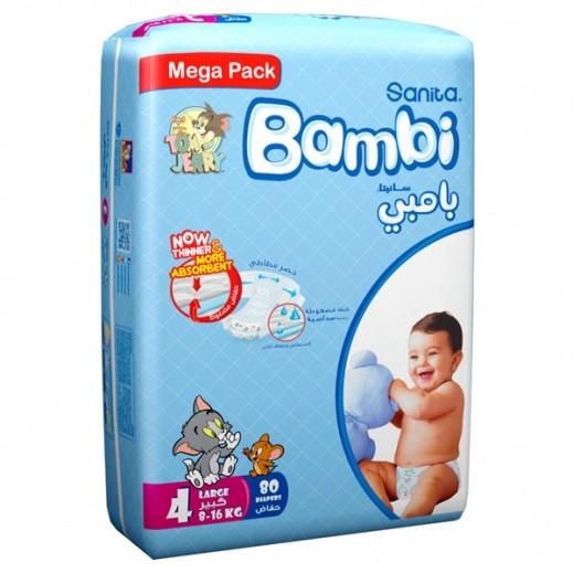 سانيتا – بامبي حفاضات أطفال مقاس (4) حجم كبير (8-16 كجم) – 80 حفاضة