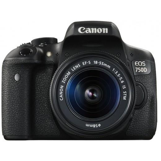 كانون - كاميرا EOS DSLR بدقة 24 ميجابيكسل مع عدسة 18-55 ملم - يتم التوصيل بواسطة Digital World Exh