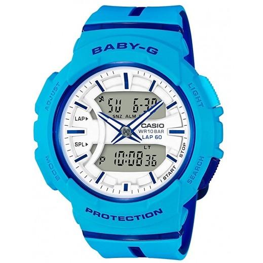 كاسيو - ساعة يد  رقمية Baby-G للسيدات بحزام راتينج - أزرق  - يتم التوصيل بواسطة Veerup General Trading