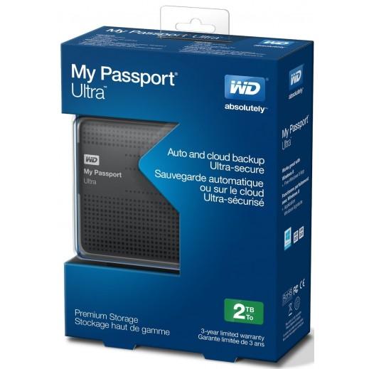 """ويسترن ديجتال – هارد ديسك خارجي USB 3.0 سعة 2 تيرابايت 2.5 إنش موديل """" My Passport Ultra """" – فضي"""