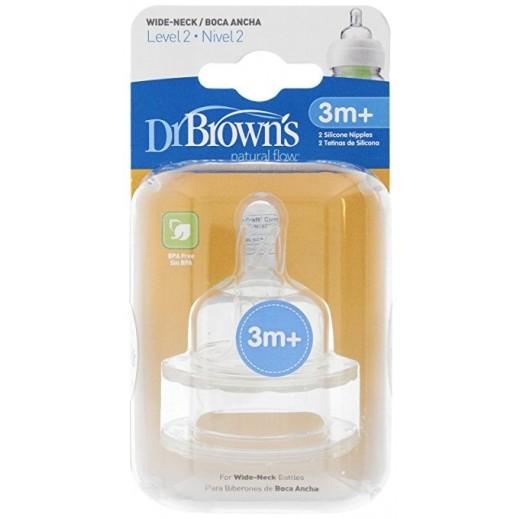 دكتور براونز – حلمة رضاعة بعنق واسع من السيليكون مستوى 2 (+3 أشهر) – 2 حبة