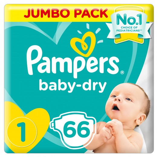بامبرز - حفاضات Baby Dry مقاس 1 للرضّع 2 - 5 كجم 66 حفاضاً