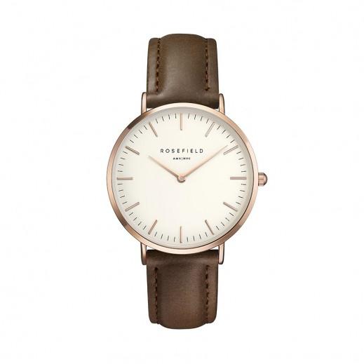 روزفيلد - ساعة بهيكل أبيض وحزام جلدي للسيدات  - يتم التوصيل بواسطة التوصيل بعد 4 أيام عمل بواسطة بيضون