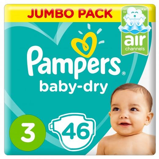 بامبرز - حفاضات Baby-Dry مقاس 3 وسط، 6 - 10 كجم 46 حفاضة