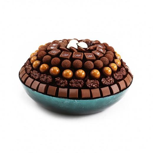 طبق زجاجي تركواز دائري عادي  - يتم التوصيل بواسطة Chocolates Rohr Geneve