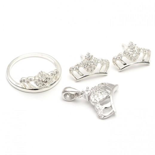 دبليو.إم - طقم مجوهرات مطلي بالفضة السويسرية الخالصة ومرصعة بالزركون والأحجار البيضاء - مقاس 7 (موديل N6-9)