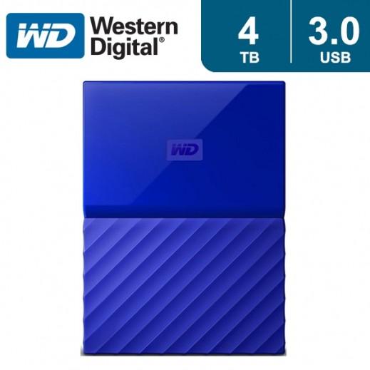 """ويسترن ديجتال – هارد ديسك """"My Passport"""" سعة 4 تيرابايت USB 3.0 – أزرق - يتم التوصيل بواسطة شركة توصيل خلال يوم واحد"""