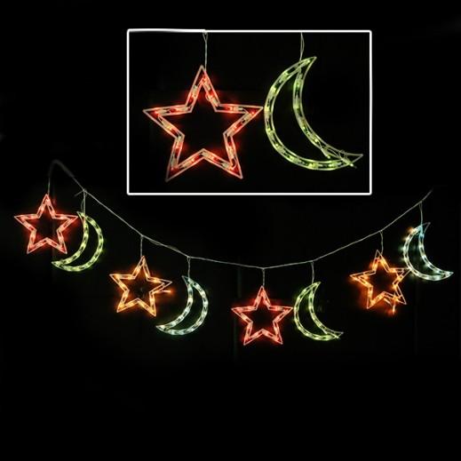 ديكورات رمضانية بضوء LED بتصميم الهلال والنجمة