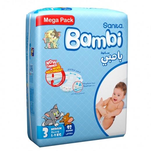 سانيتا – بامبي حفاضات أطفال مقاس (3) حجم وسط (5-9 كجم) – 92 حفاضة