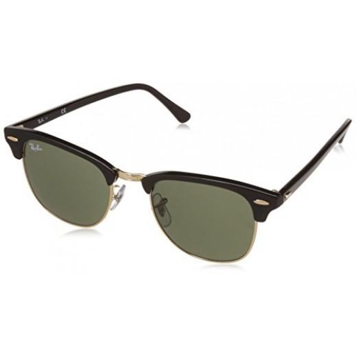 راي بان - نظارة شمسية Clubmaster لكلا الجنسين - أخضر كلاسيك 51 مم  - يتم التوصيل بواسطة Waleed Optics