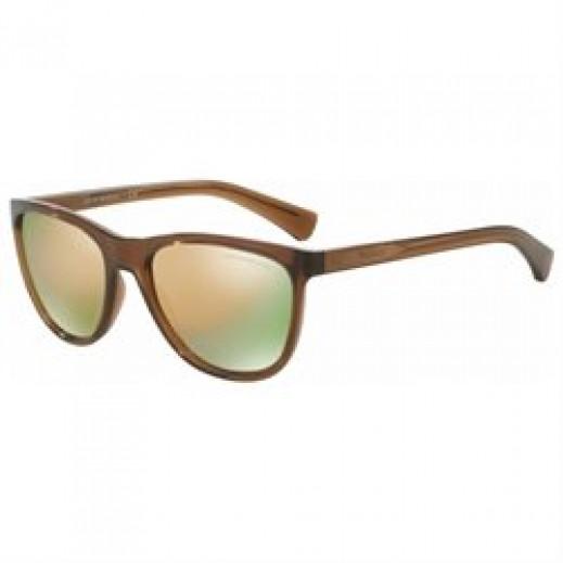 امبوريو أرماني – نظارة شمسية للرجال بني/رمادي عاكسة لون ذهبي وردي موديل EAR 4053 5374 4Z مقاس 57