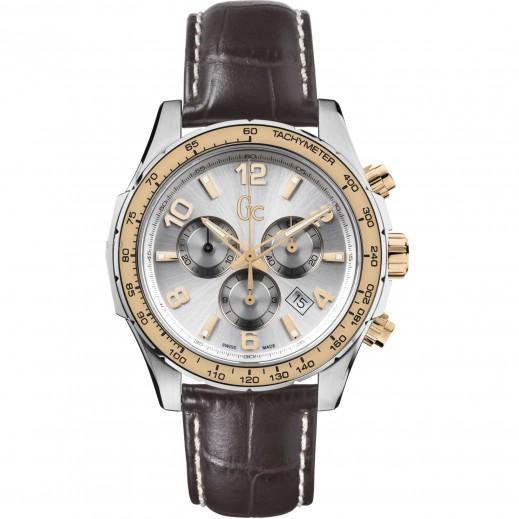 """جي سي - ساعة يد للرجال """"كرونوغراف""""، حزام من الجلد - يتم التوصيل بواسطة Beidoun"""