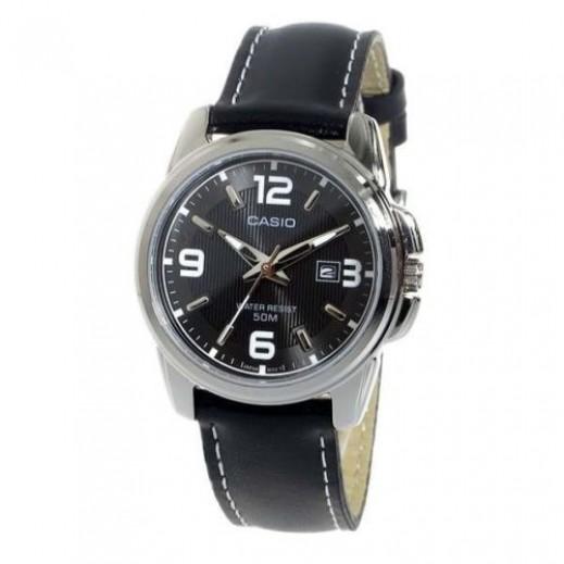 كاسيو - ساعة يد انتيسر عقارب للرجال بسوار جلد أسود - يتم التوصيل بواسطة Veerup General Trading