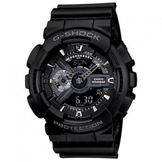 كاسيو - ساعة يد رقمي وتناظري G-SHOCK بحزام راتينج للرجال - أسود  - يتم التوصيل بواسطة Veerup General Trading